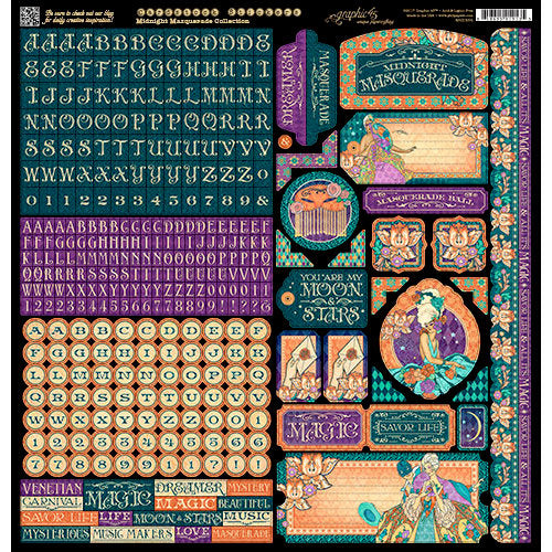 Graphic 45 12x12 Cardstock Stickers - Midnight Masquerade