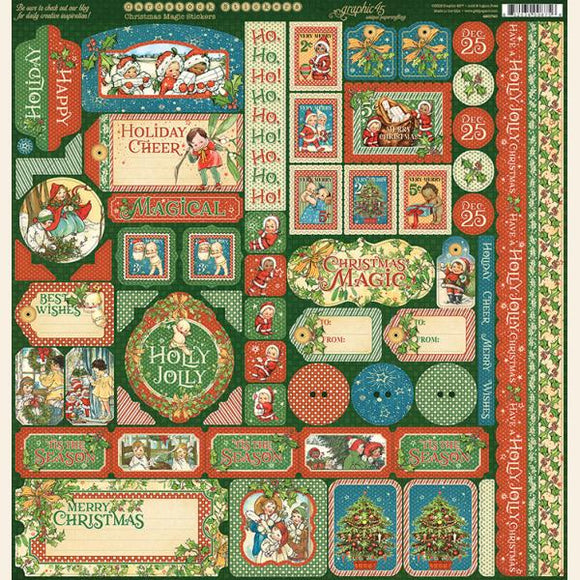 Graphic 45 12x12 Cardstock Stickers - Christmas Magic