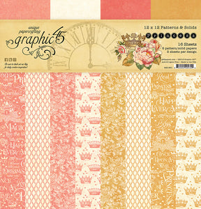 Graphic 45 12x12 Patterns & Solids Paper Pad - Princess