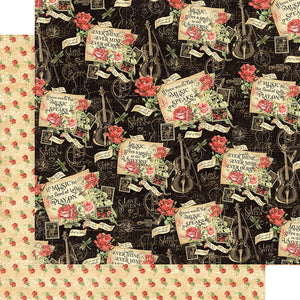 Graphic 45 Papers - Love Notes - Melodic Missives - 2 Sheets