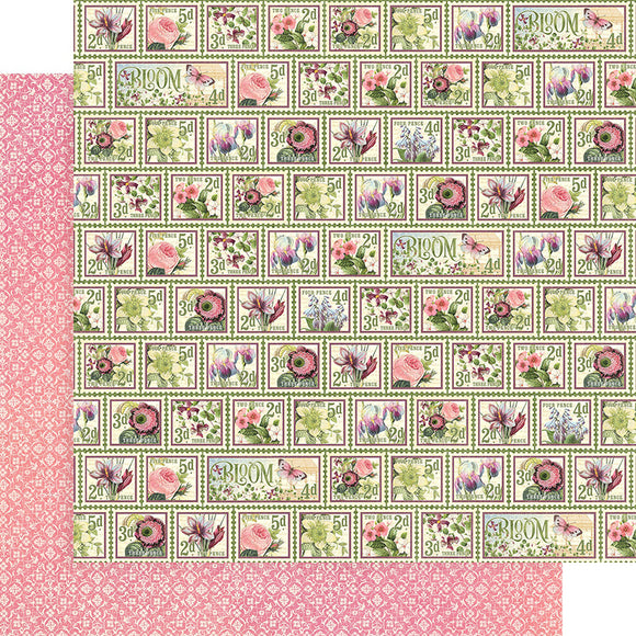 Graphic 45 Papers - Bloom - Petal Postage - 2 Sheets