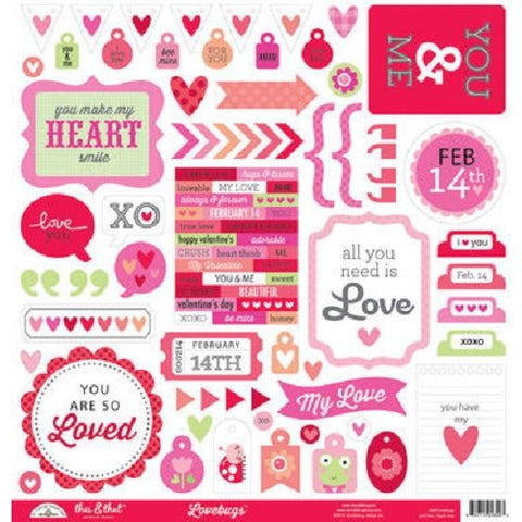 Doodlebug Design 12x12 Cardstock Stickers - This & That - Lovebugs