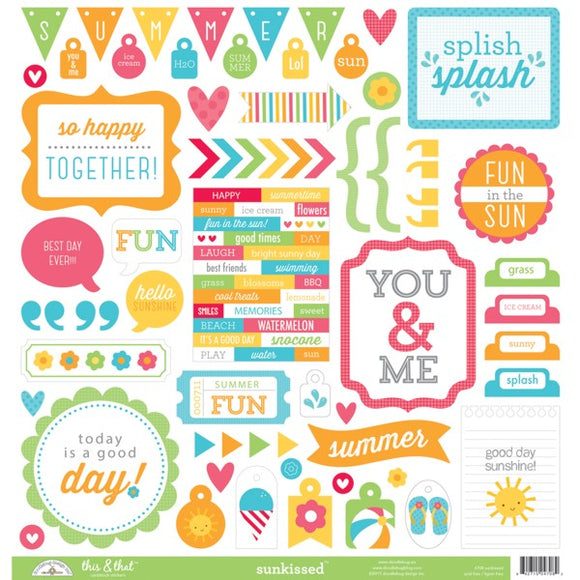 Doodlebug 12x12 Cardstock Stickers - This & That - Sunkissed