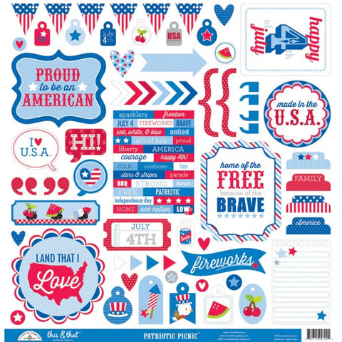 Doodlebug 12x12 Cardstock Stickers - This & That - Patriotic Picnic