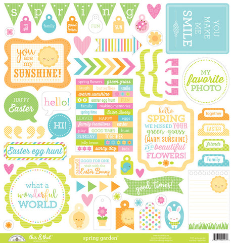 Doodlebug Design 12x12 Cardstock Stickers - This & That - Spring Garden