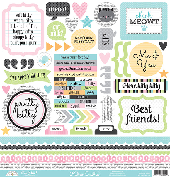 Doodlebug 12x12 Cardstock Stickers - This & That - Kitten Smitten