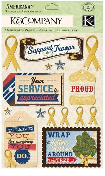 K&Company 3D Stickers - Americana Yellow Ribbon Stitched Adornments