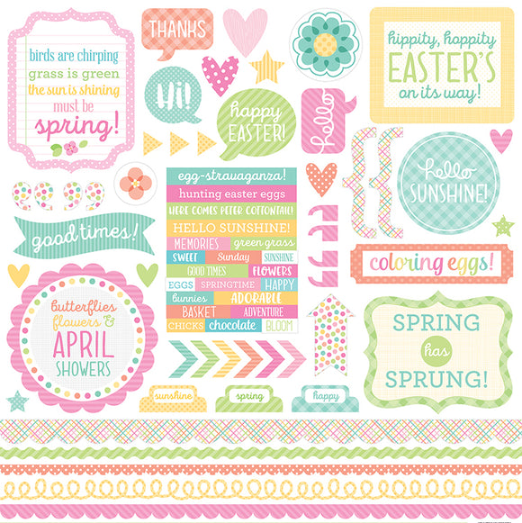 Doodlebug 12x12 Cardstock Stickers - This & That - Spring Things