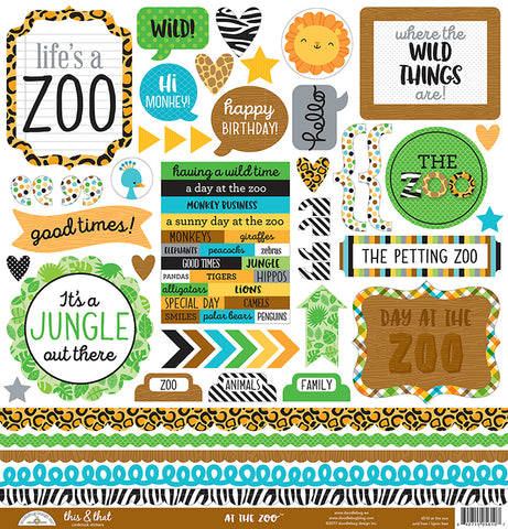 Doodlebug 12x12 Cardstock Stickers - This & That - At the Zoo