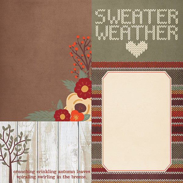 Simple Stories Papers - Sweater Weather - 4x6 & 6x8 Journaling Cards - 2 Sheets