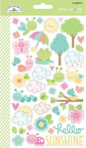 Doodlebug Design Mini Icons Cardstock Stickers - Spring Things - 2 Sheets