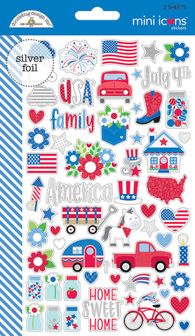 Doodlebug Design Mini Icons Cardstock Stickers - Yankee Doodle - 2 Sheets