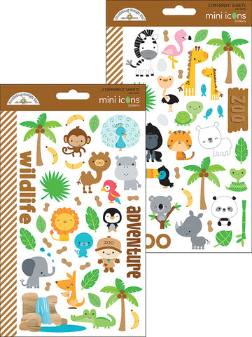 Doodlebug Design Mini Icons Cardstock Stickers - At the Zoo - 2 Sheets