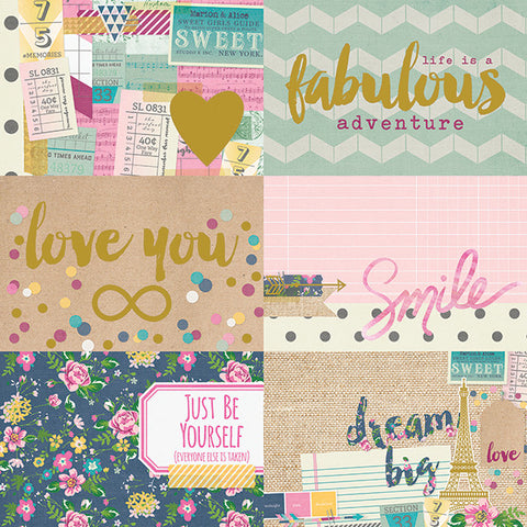 Simple Stories Papers - So Fancy - 4x6 Horizontal Journaling Cards - 2 Sheets