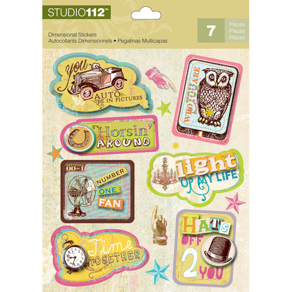 K&Company Studio 112 Dimensional Stickers - Sayings