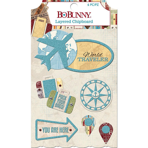 Bo Bunny Layered Chipboard - World Traveler