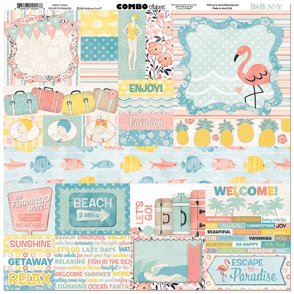 Bo Bunny Cardstock 12x12 Combo Stickers - Escape to Paradise