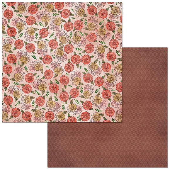 Bo Bunny Papers - Floral Spice - Endearing - 2 Sheets