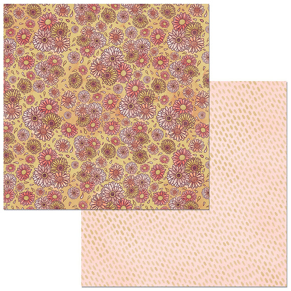 Bo Bunny Papers - Floral Spice - Vibrant - 2 Sheets