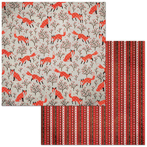 Bo Bunny Papers - Winter Getaway - Foxes - 2 Sheets