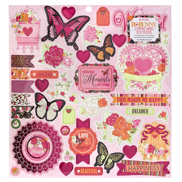 Bo Bunny 12x12 Adhesive Chipboard - Sweet Clementine