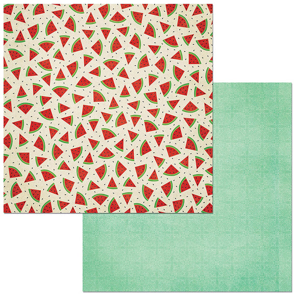 Bo Bunny Papers - Celebrating Freedom - Watermelon - 2 Sheets