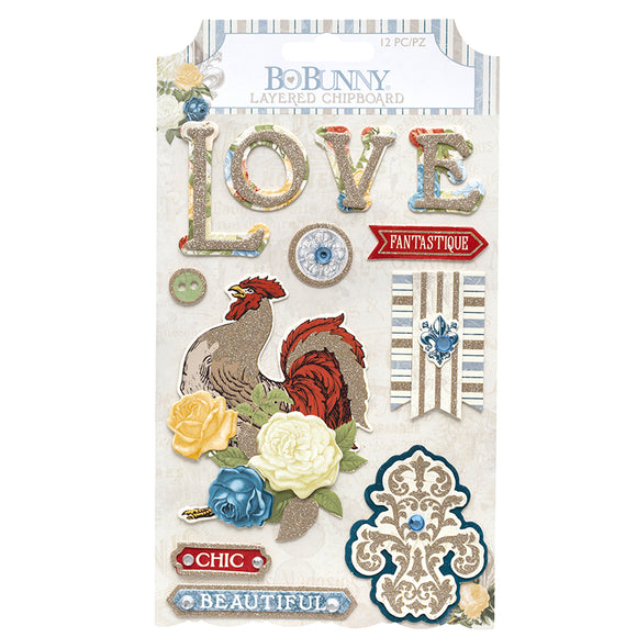 Bo Bunny Layered Chipboard - Boulevard