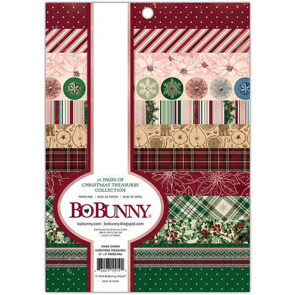 Bo Bunny 6x8 Paper Pad - Christmas Treasures - Foil Accents