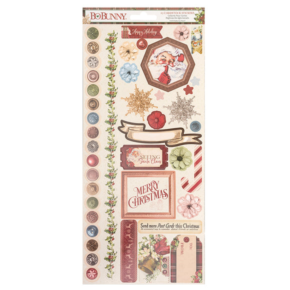 Bo Bunny Long Cardstock Stickers - Christmas Treasures