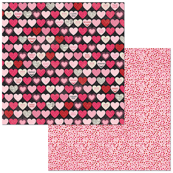 Bo Bunny Papers - Count the Ways - Hearts - 2 Sheets