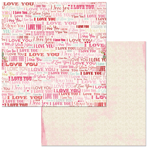 Bo Bunny Papers - Count the Ways - I Love You - 2 Sheets