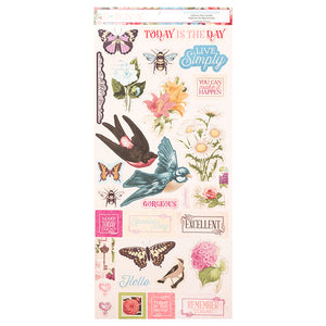 Bo Bunny Long Cardstock Stickers - Time & Place