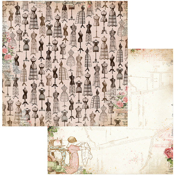 Bo Bunny Papers - Family Heirlooms - Keepsakes - 2 Sheets