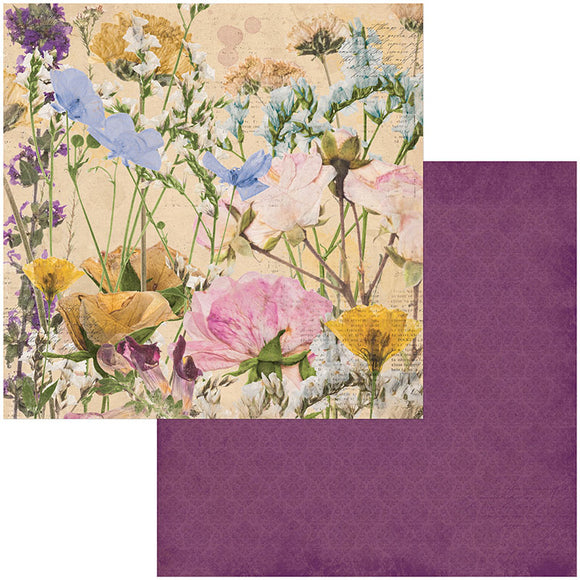 Bo Bunny Papers - Botanical Journal - Flowers - 2 Sheets