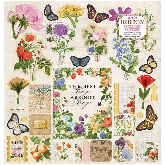 Bo Bunny 12x12 Adhesive Chipboard - Botanical Journal