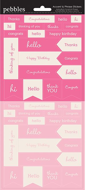 Pebbles Cardstock Stickers - Accents & Phrases - Peony & Begonia
