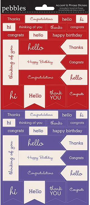 Pebbles Cardstock Stickers - Accents & Phrases - Red & Purple