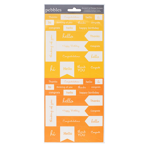 Pebbles Cardstock Stickers - Accents & Phrases - Honeycomb & Melon