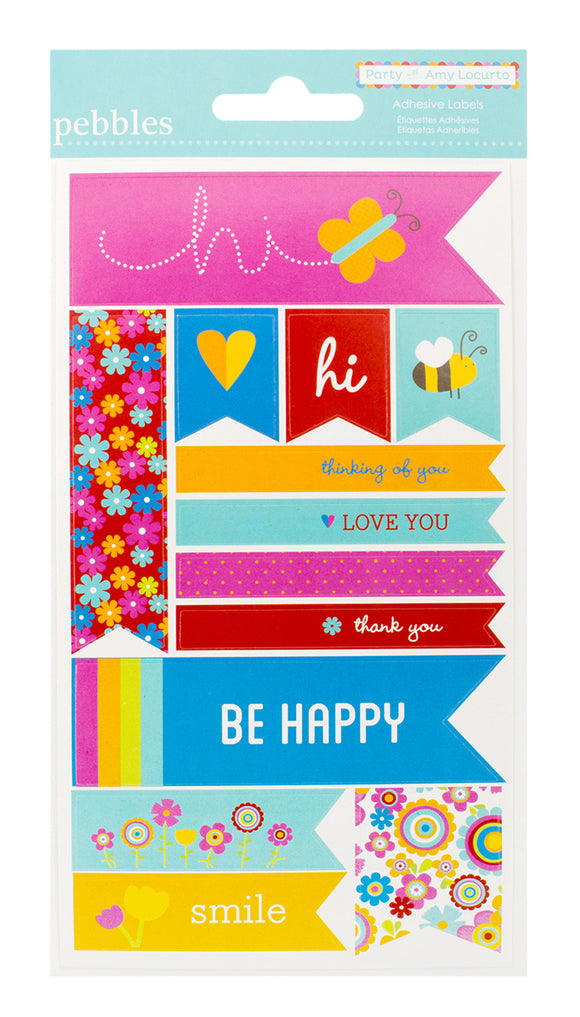 Pebbles Cardstock Stickers - Rainbow - Labels