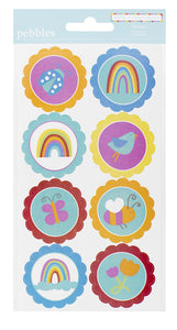 Pebbles Cardstock Stickers - Rainbow - Circle Accents