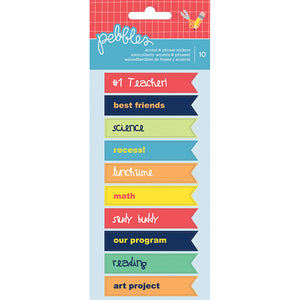 Pebbles Cardstock Stickers - Back to School - Phrase Flags