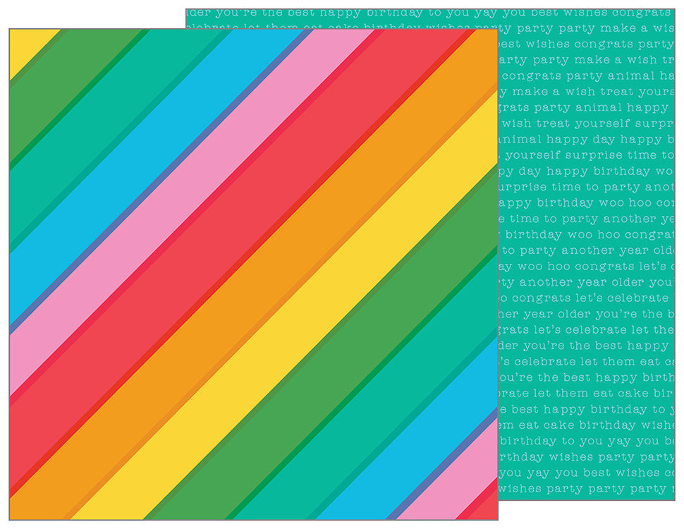 Pebbles Papers - Happy Hooray - Rainbowtastic - 2 Sheets