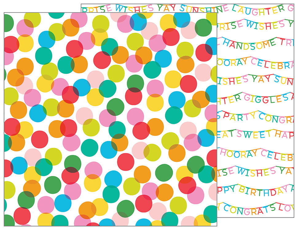 Pebbles Papers - Happy Hooray - Celebrate - 2 Sheets