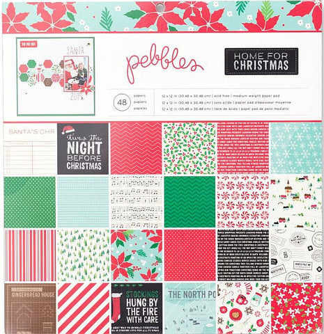 Pebbles 12x12 Cardstock Paper Pad - Home for Christmas