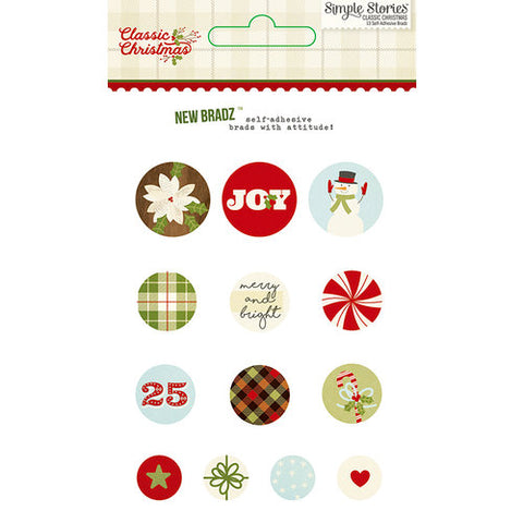 Simple Stories Decorative Brads - Classic Christmas