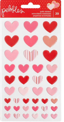 Pebbles Puffy Stickers - Be Mine Hearts