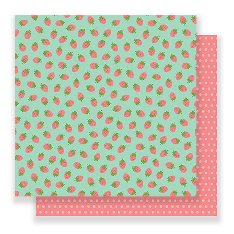 Pebbles Papers - Spring Fling - Strawberry Fields - 2 Sheets