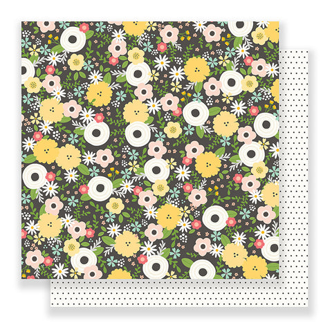 Pebbles Papers - Spring Fling - Chalkboard Floral - 2 Sheets