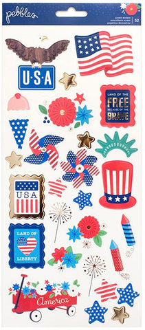 Pebbles Cardstock Stickers - America the Beautiful
