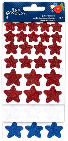 Pebbles Glitter Stickers - America the Beautiful